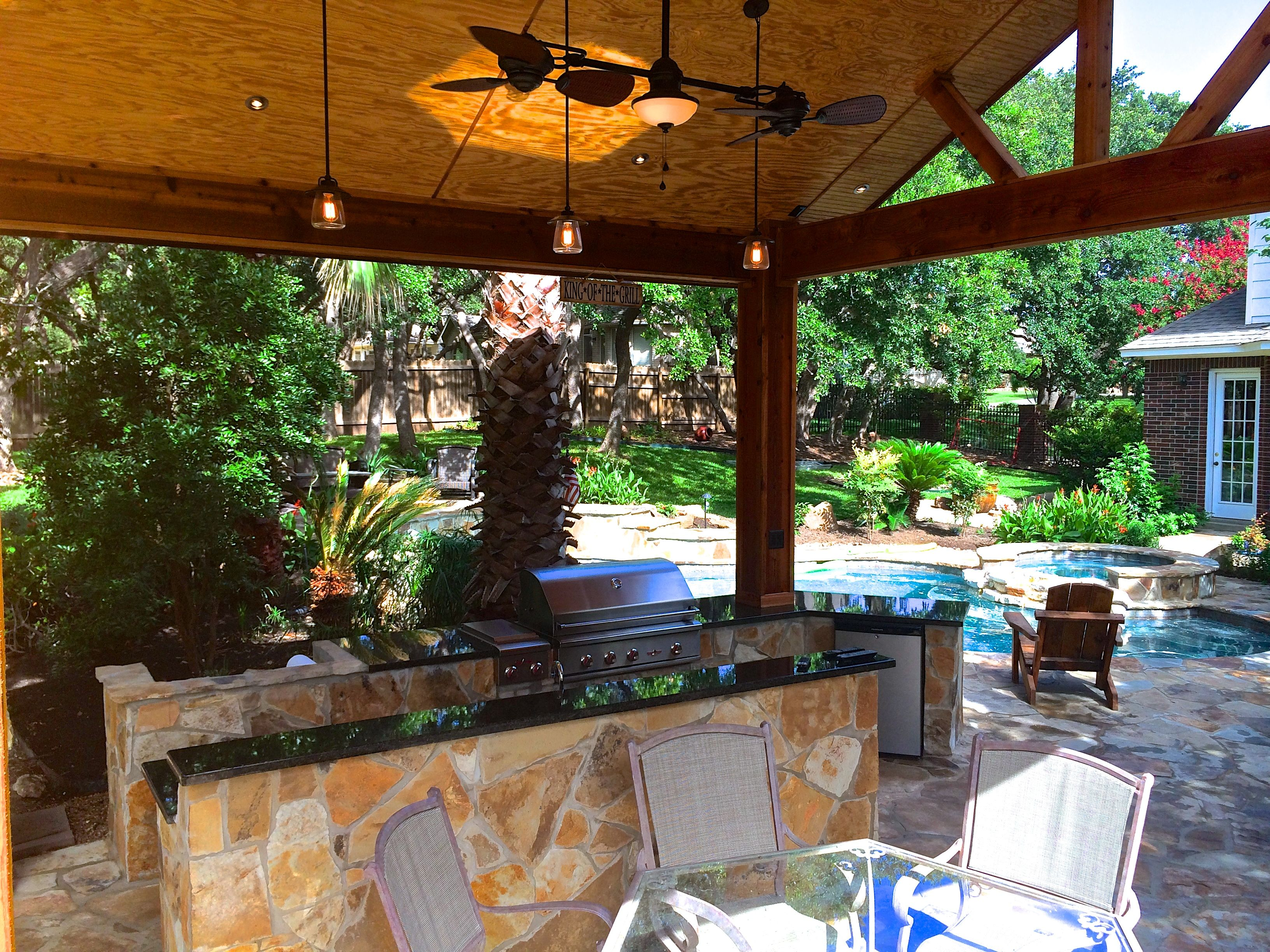Pool Patio With Cabana And Stone Outdoor Kitchen Pool Patio Outdoor Living Areas Outdoor