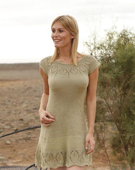 Платье с кокеткой вязание сверху вниз