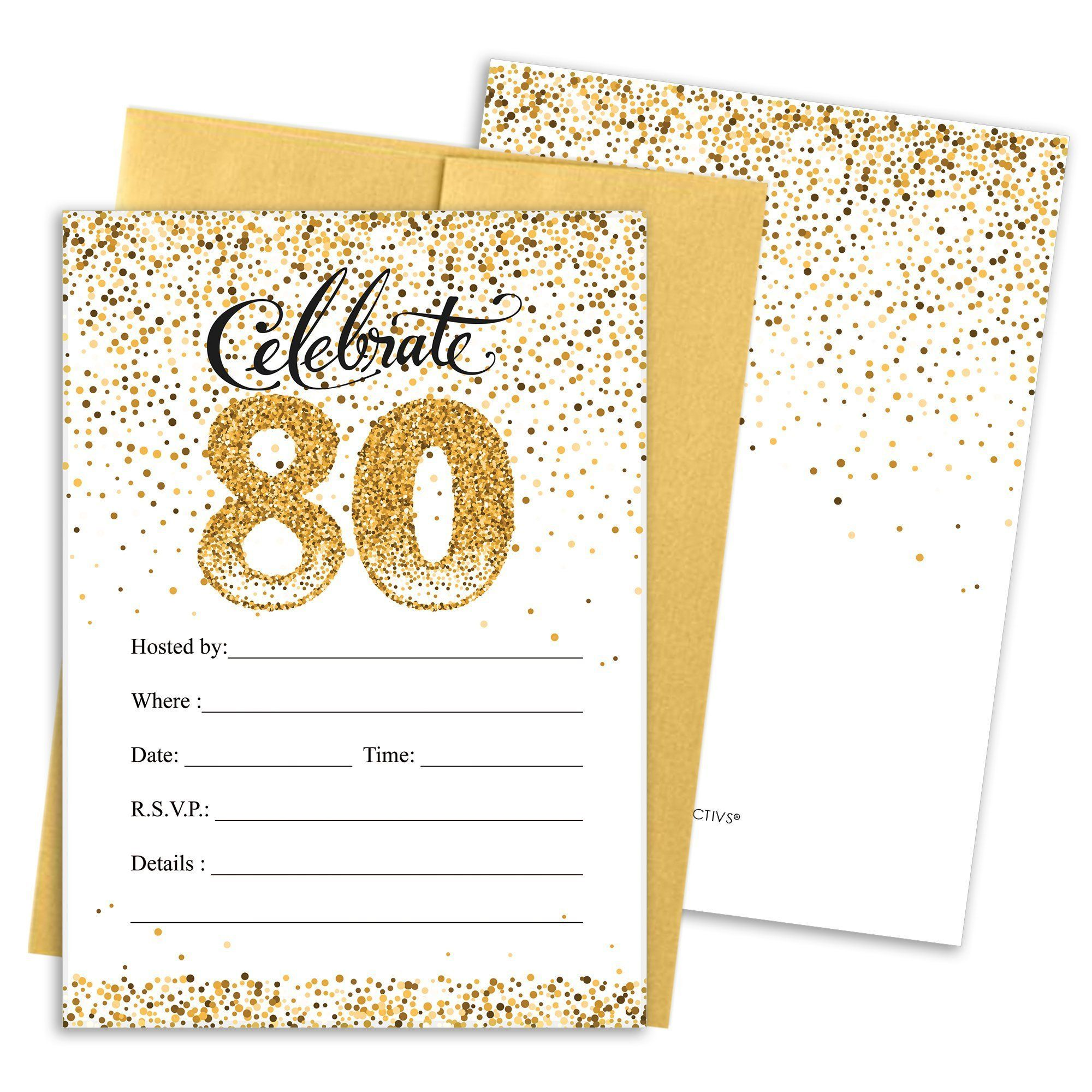 White and Gold - 80th Birthday Party Invitation Cards with Envelopes ...