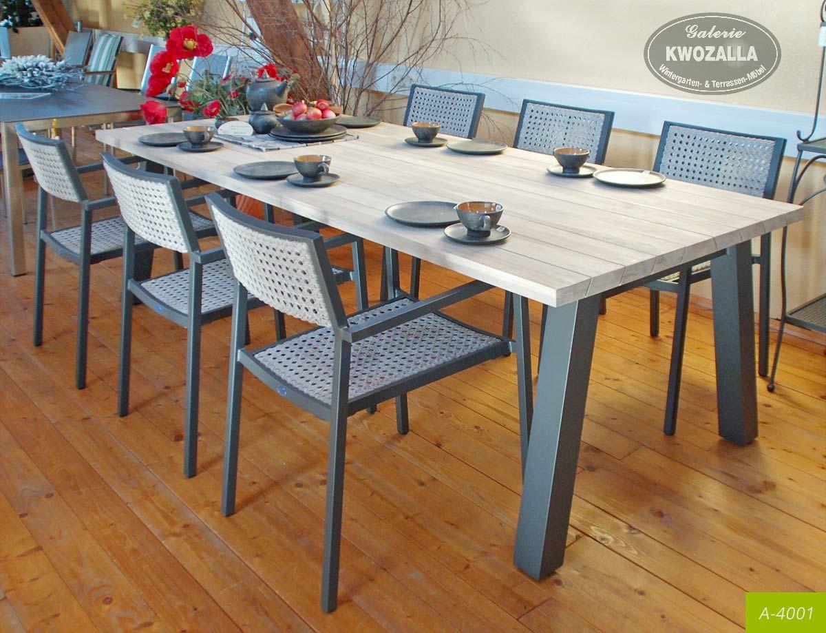 Gartenmöbel Aus Aluminium Von Kwozalla   Gartenstühle Stapelbar, Großer  Gartentisch Esstisch Mit Teakholzauflage (