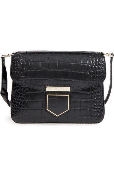 NEW GIVENCHY NOBILE BLACK SMALL SHOULDER BAG CROCODILE EMBOSSED CALF  LEATHER  Givenchy  MessengerCrossBody 1dd80e5164909