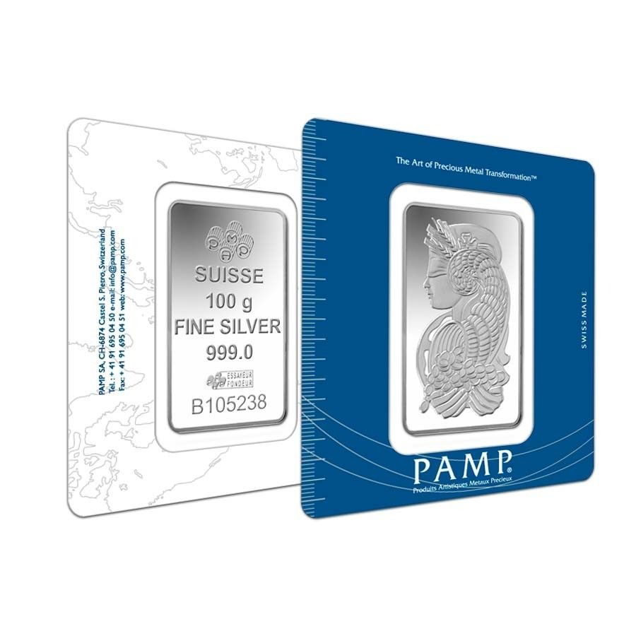 100 Gram Pamp Suisse Lady Fortuna Silver Bar 999 Fine In Assay Silver Bars Silver Fine Silver