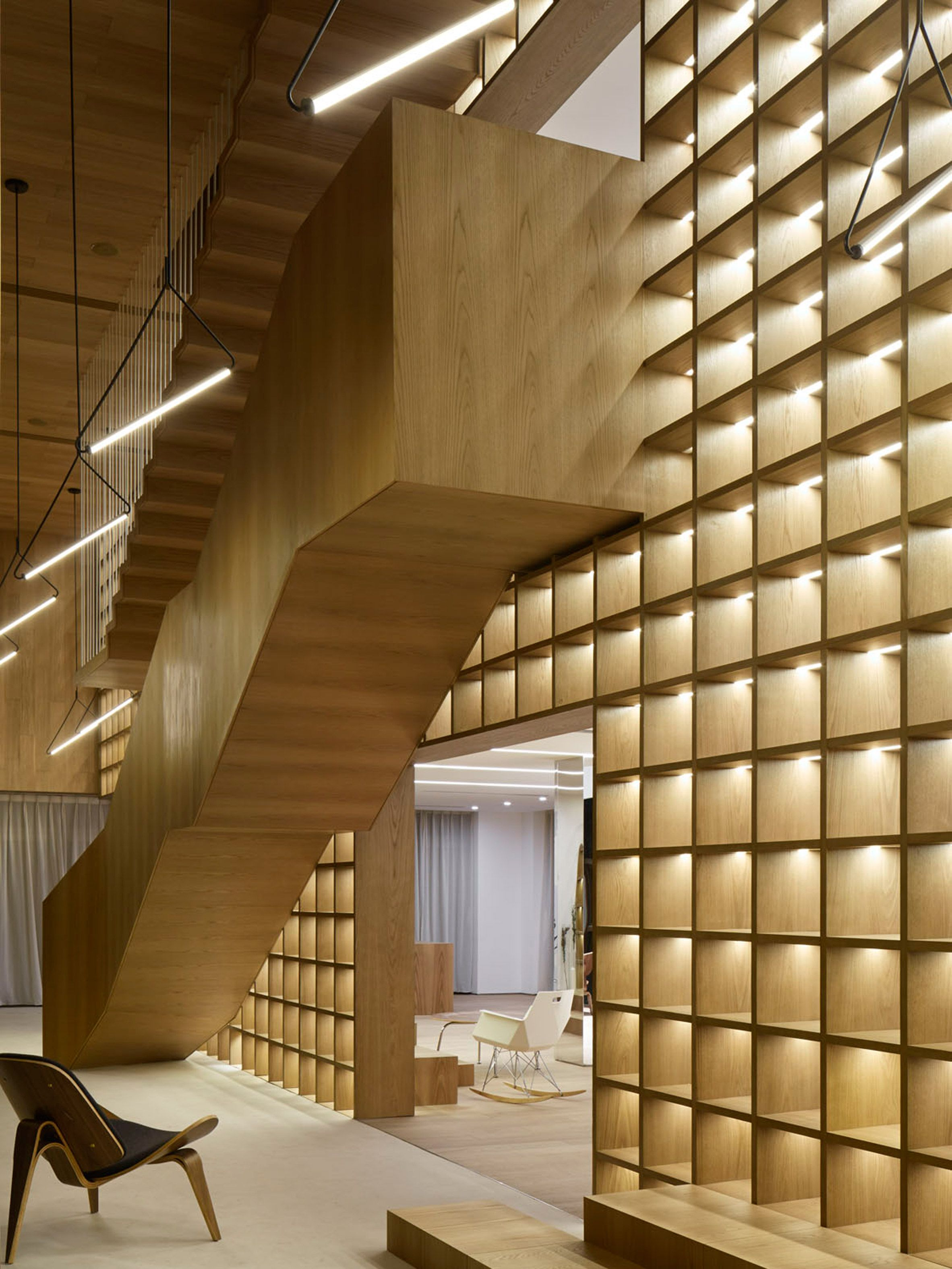sales office design ideas. Giant Bookcase Forms Centrepiece Of Shanghai Sales Office By Team_Bldg Design Ideas
