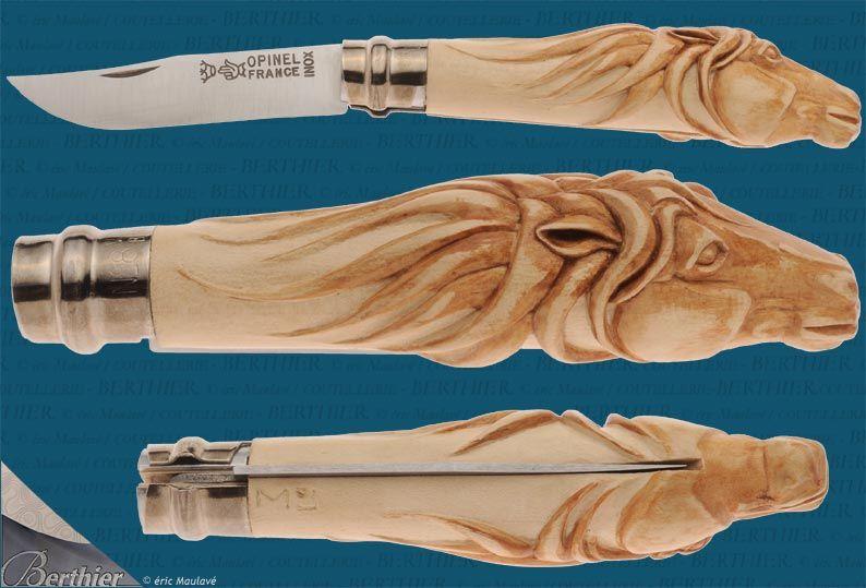Opinel Knife Hand Carved Horse Mangos De Cuchillos Tallas En Hueso Cuchillos Personalizados