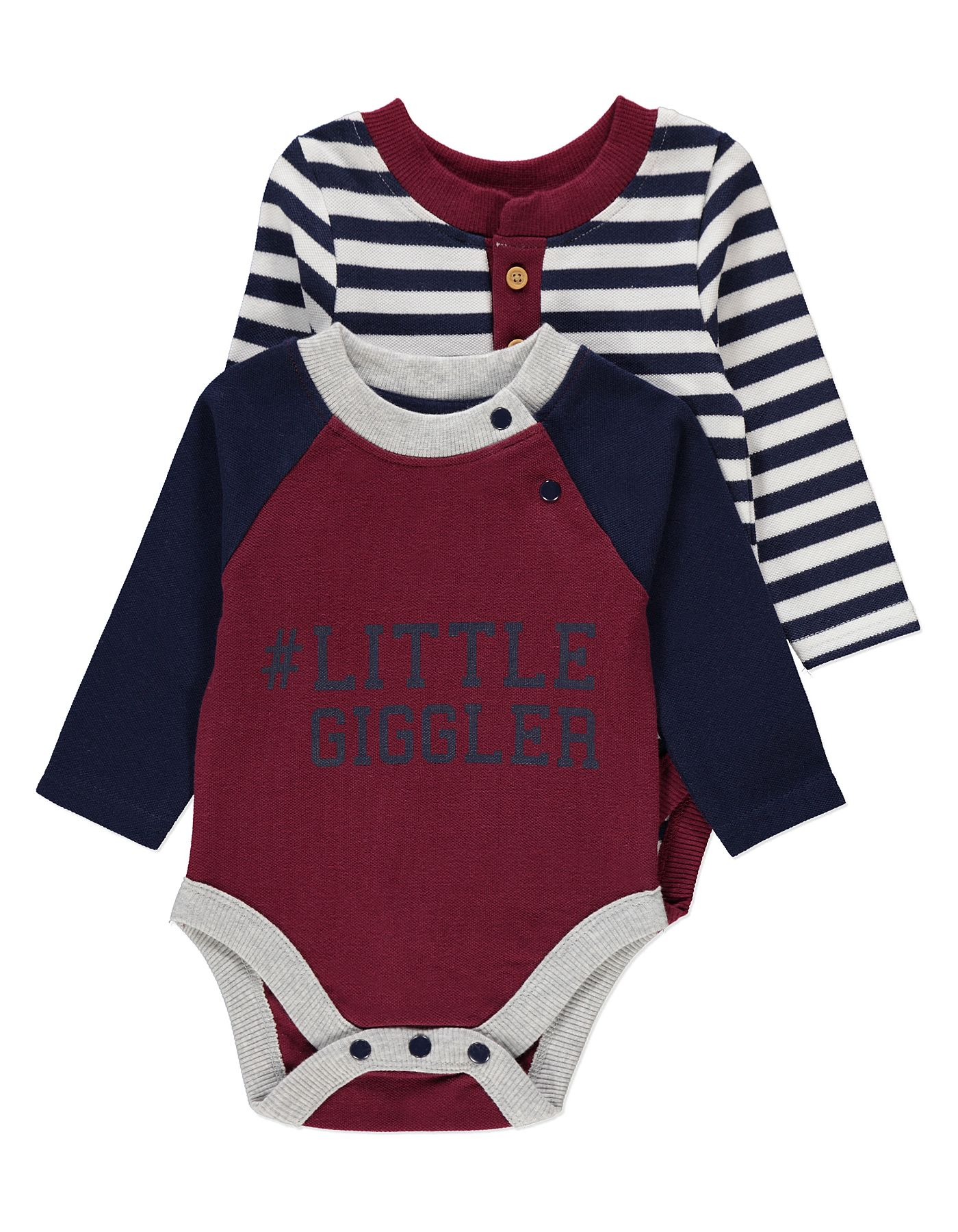 2 Pack Long Sleeve Baby Bodysuits Baby George At Asda Ideias