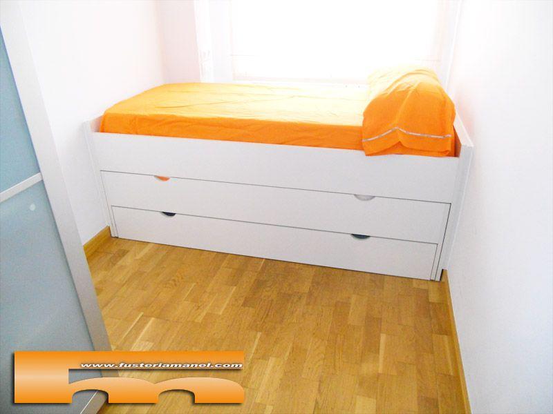 Habitaci n infantil muy peque a para compartir cama nido doble con caj n proyecto a medida de - Camas infantiles barcelona ...