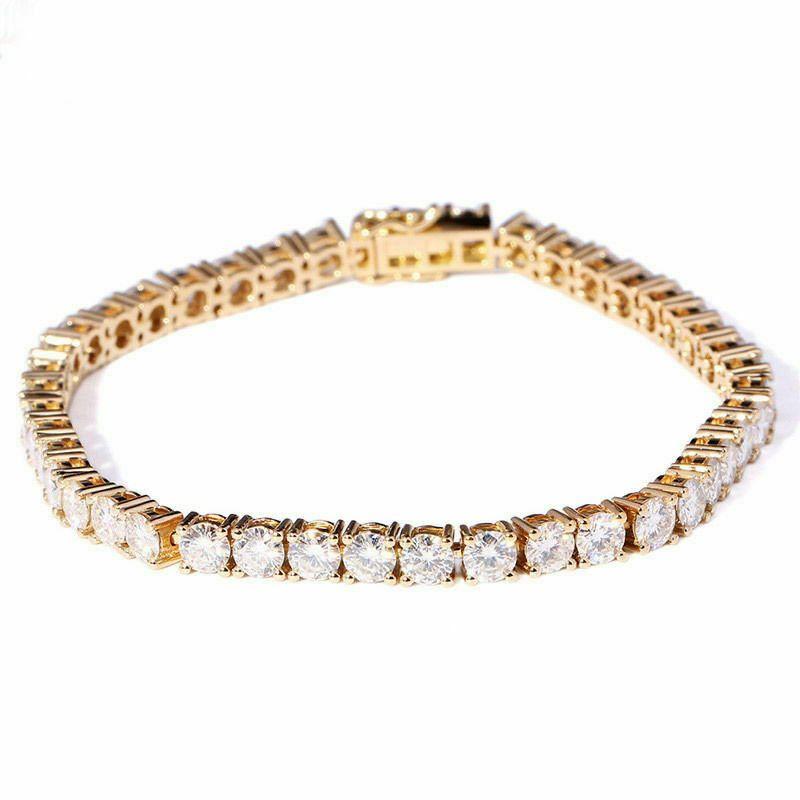 8 Ct Round Lab Created Moissanite Diamond Tennis Bracelets Solid 10k Yellow Gold Ebay In 2020 Yellow Gold Bracelet Yellow Gold Moissanite Custom Charm Bracelet
