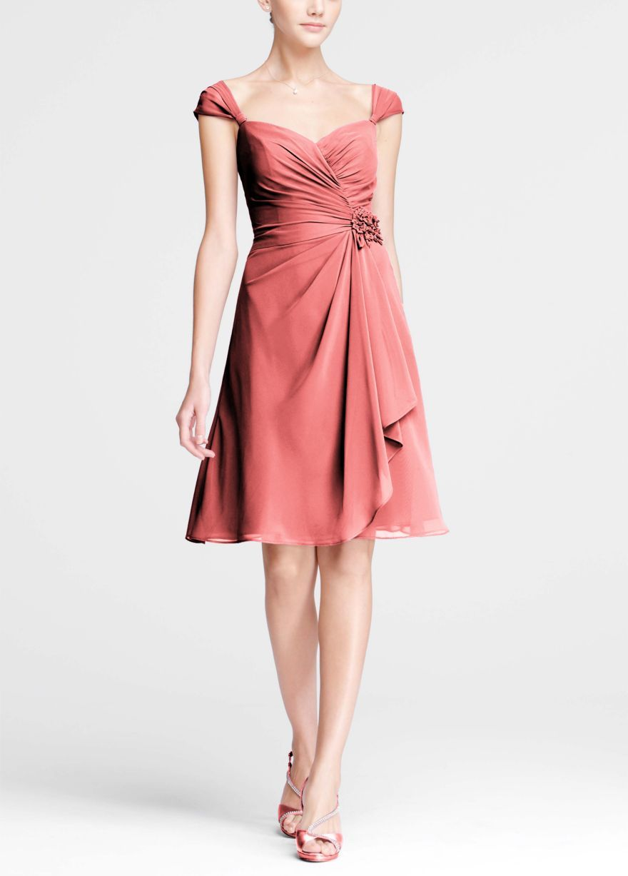 Style f chiffon sweetheart short dress with cap sleeves