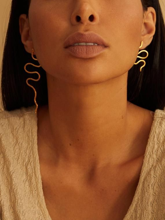 Photo of Asymmetrical duo snake earrings, ethic jewelry, statement ea …