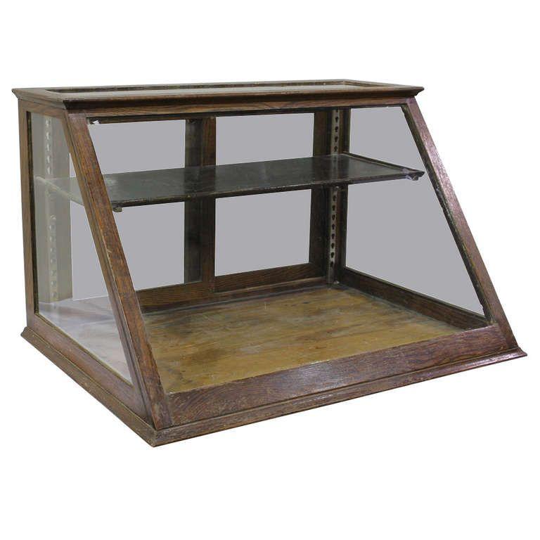 Antique Oak Counter Display Cabinet/ Showcase