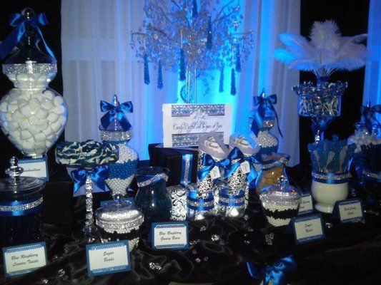 Image Result For Navy Blue Sweet 16 Decorations Wedding Candy Table Candy Buffet Wedding Blue Candy Buffet