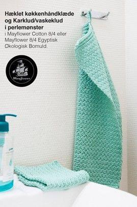 Hæklet minihåndklæde og karklude i perlemønster
