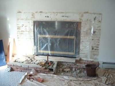 Remove raised hearth turn into flush hearth new fireplace - How to make a brick fireplace look modern ...