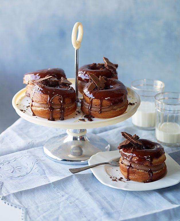Australian Gourmet Traveller recipe for chocolate-cream doughnuts.