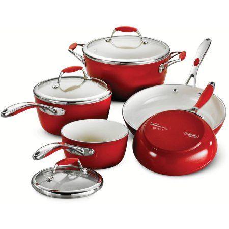 Tramontina Gourmet Ceramica 8 Piece Cookware Set Red Walmart Com Cookware Set Cookware Set Stainless Steel Pots And Pans Sets