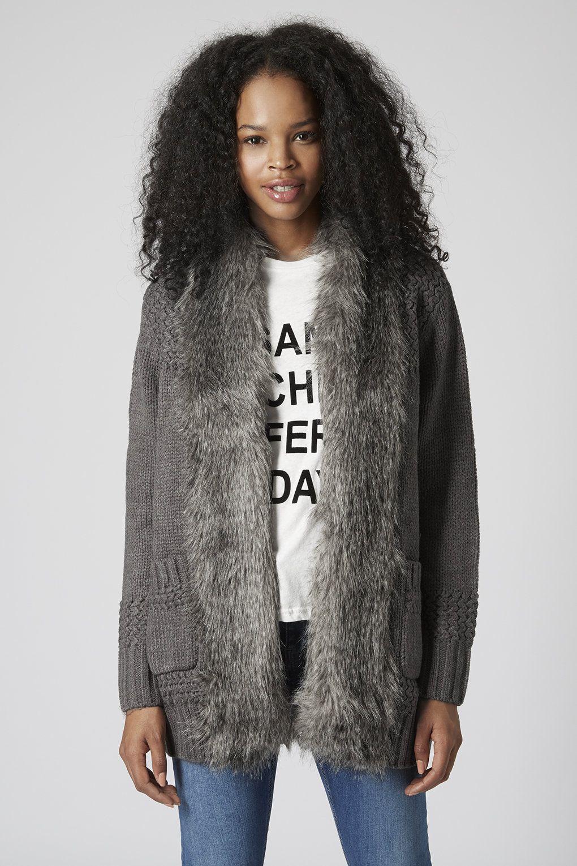 Faux Fur Trim Stitch Cardigan - Knitwear - Clothing - Topshop  27ad2acbe