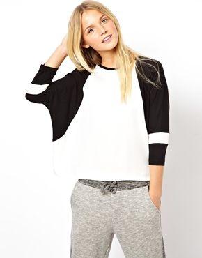 ASOS - Baseball-Oberteil mit gewebter Bahn - Mehrfarbig #fashion #sweatshirt #shirts #damenmode #oberteile #mode #baseball