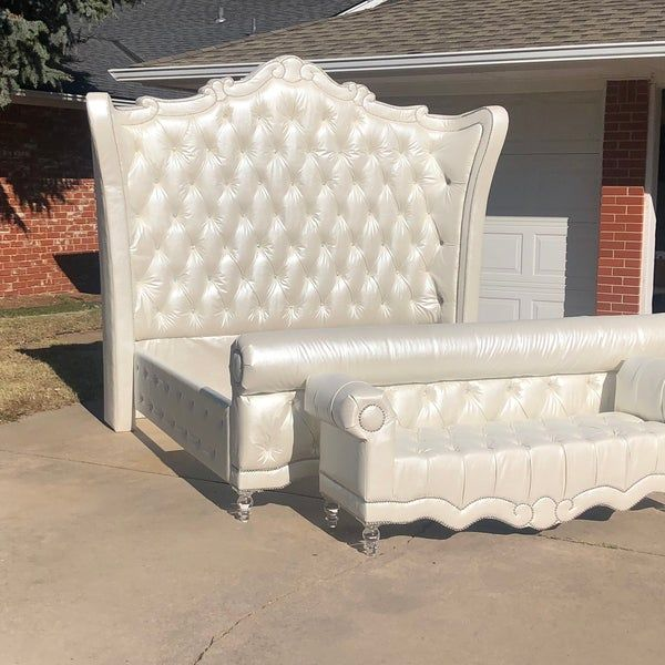 Tall Upholstered Tufted Headboard Bed Frame Curved