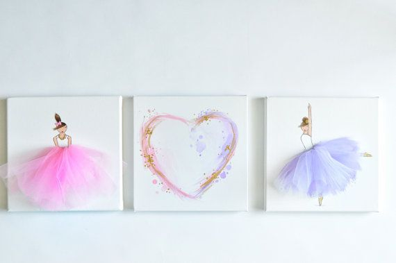 NEW Set of Ballerina/Heart Canvases Hand por ShenasiConcept