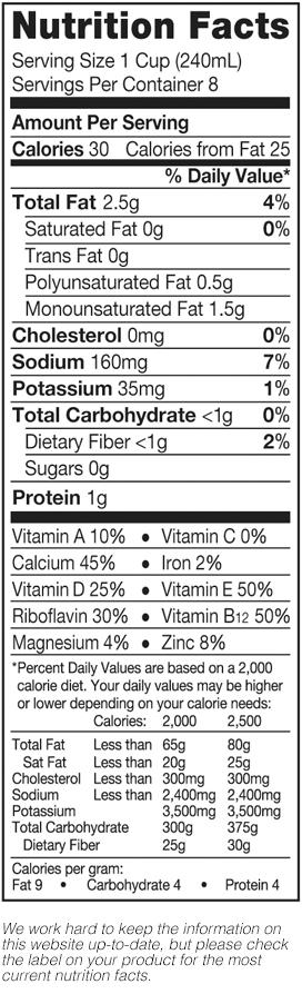 Pure Almond Unsweetened Vanilla Nutrition Label
