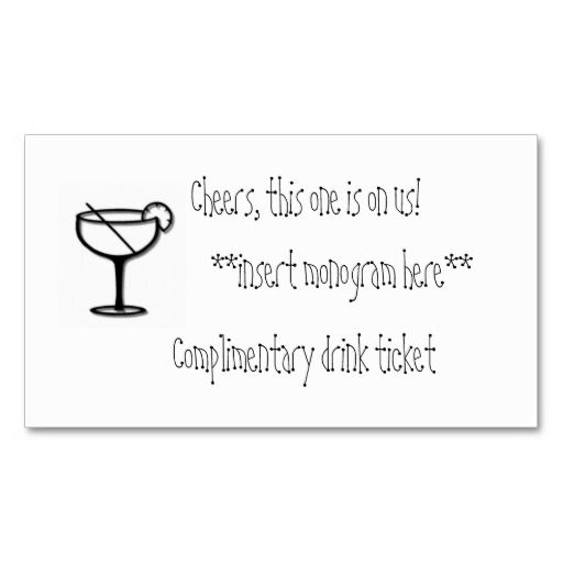 Complimentary drink ticket business card templates | Ron\'s birthday ...