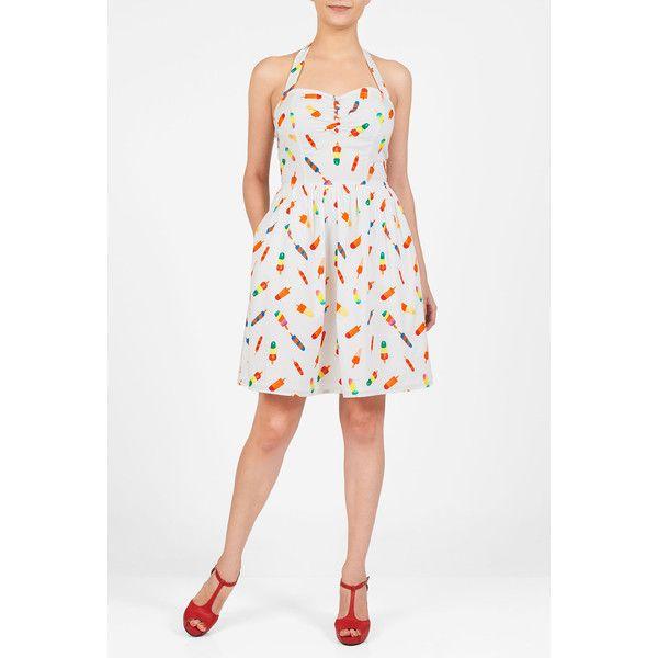 Popsicle print halter neck cotton dress ($30) ❤ liked on Polyvore featuring dresses, cotton halter dress, halter-neck dress, print dress, pattern dress and white print dress