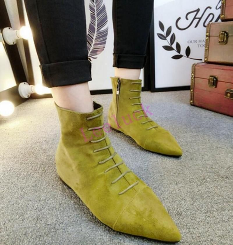 Women Ankle Boots Pointed Toe Buckle Zipper Flats Comfortable Shoes