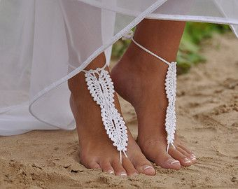 Bridal Barefoot Sandals White Crochet Foot Jewelry Beach Wedding Lace Shoes