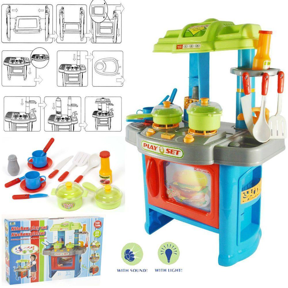 Large 29pc Electronic Toy Kitchen Set Green Blue Kids Children Play Light Sound