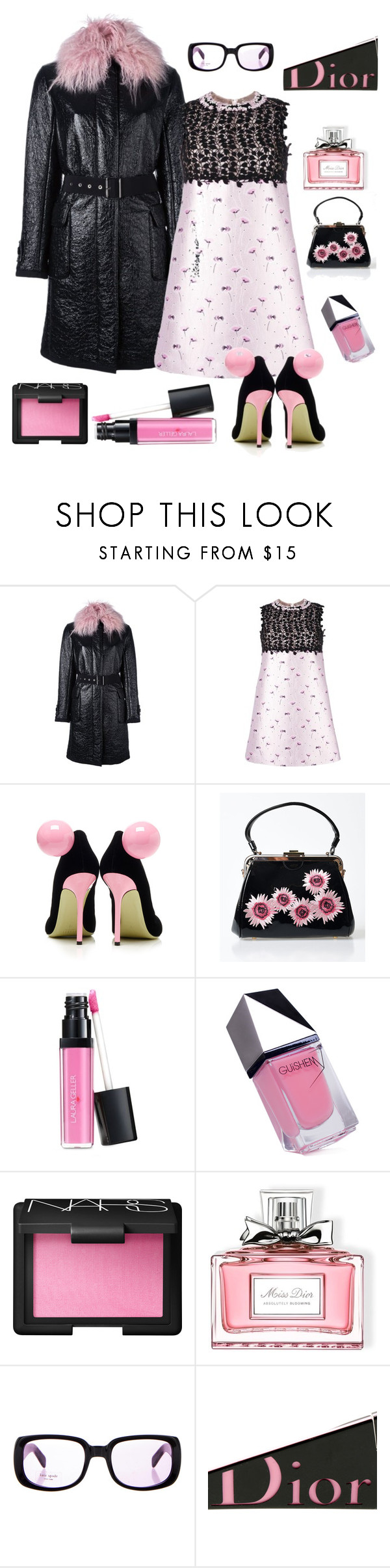 """""""Cocktail hour"""" by kotnourka ❤ liked on Polyvore featuring Moncler, Giambattista Valli, Giannico, Voodoo Vixen, Laura Geller, GUiSHEM, NARS Cosmetics, Christian Dior and Kate Spade"""