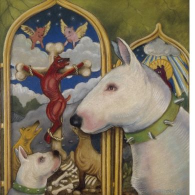 Dog with Altarpiece  by  John Kindness