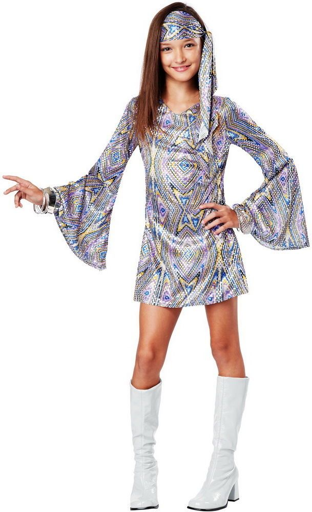 groovy 70s disco darling hippie era halloween costume outfit child girls californiacostumecollection completecostume