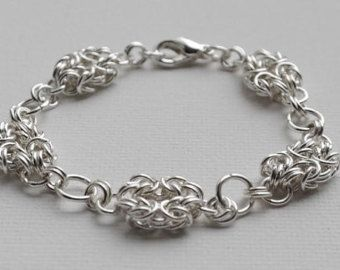 Sterling Silver Bracelet, Chain, Byzantine Rosette Chainmaille, Handmade, Lobster Clasp, Jewellery
