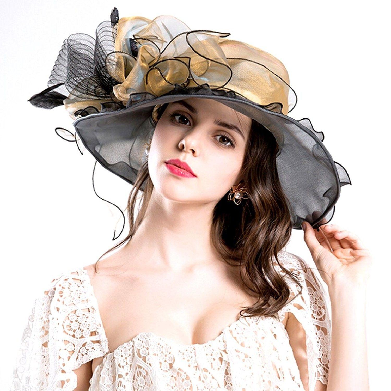 83ed3710a5126 Women Foldable Organza Church Derby Hat Ruffles Wide Brim - Gold-b -  CG17Z6MX3XS - Hats   Caps