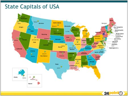 State Capitals Of The USA Httpwwwpointcomproductreviews - Us map editable in powerpoint