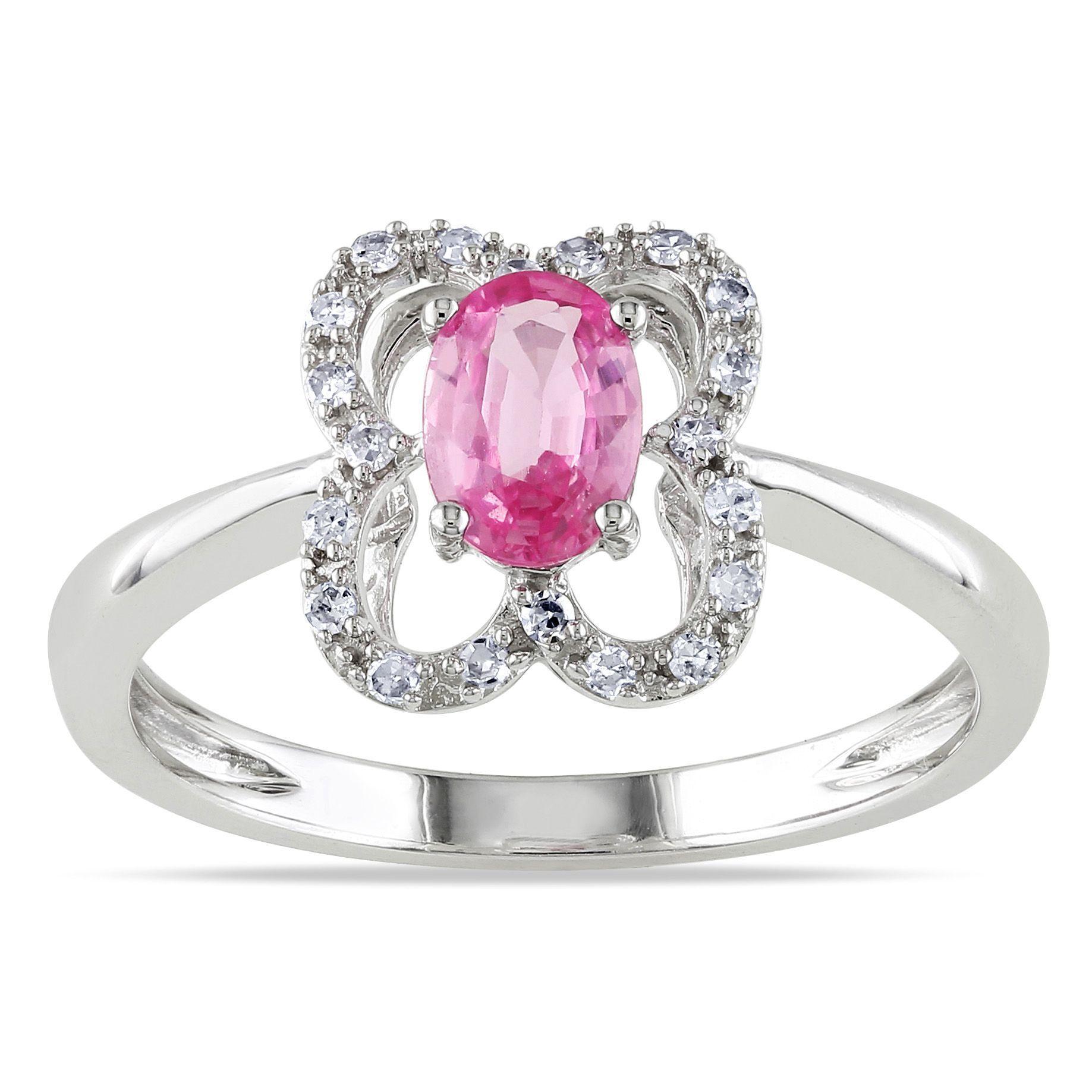 Miadora signature collection 14k white gold 1ct tdw diamond double row - Miadora 10k White Gold Pink Sapphire 1 10ct Tdw Diamond Ring G H I1
