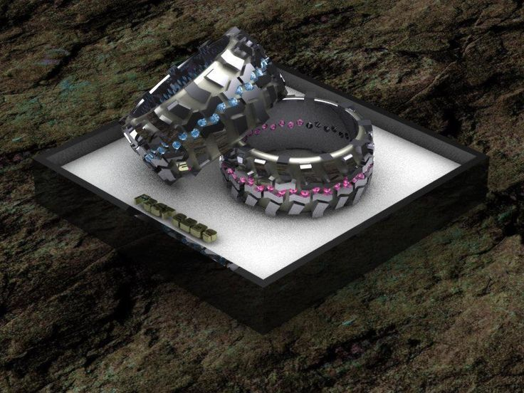 mud truck tire wedding rings fast eddes 4x4 jewelry his and hers set - Mud Tire Wedding Rings