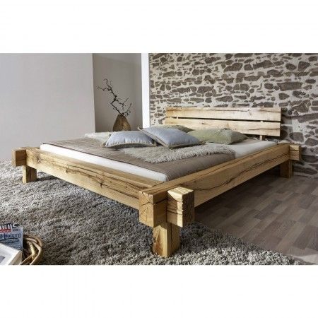 Modernes Doppelbett Daniel Wohnwand Eiche, Bett Eiche, Massiv Bett,  Wildeiche Massiv, Wohnideen