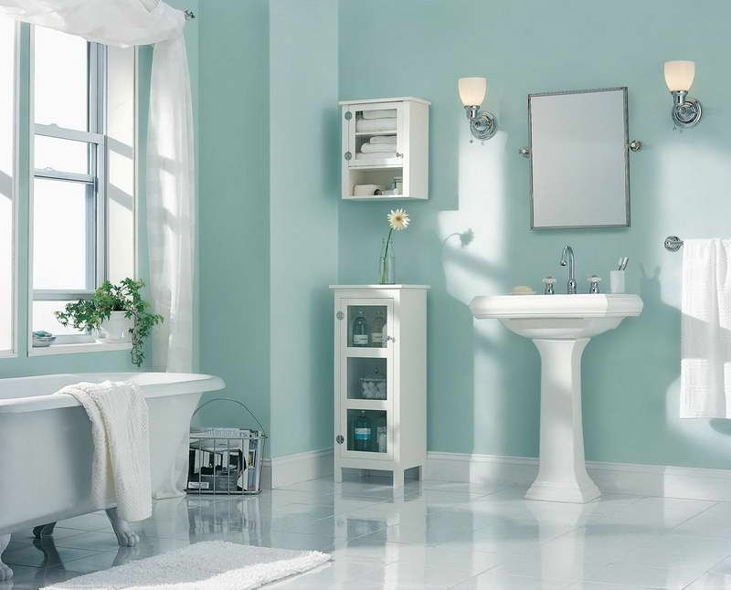 painting color ideas bathroom with white drapery and light blue walls and also a mirror and sink under two wall lights and a small shelf in bathroom paint - Bathroom Paint Ideas
