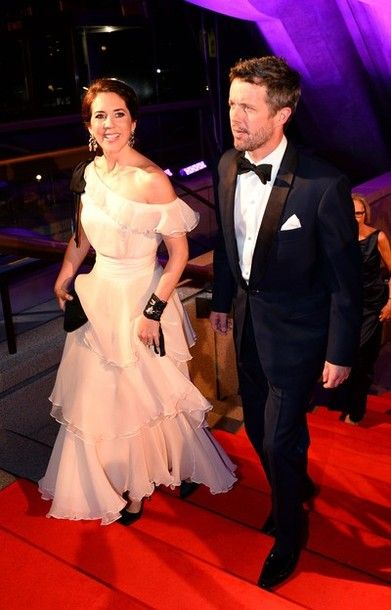 SYDNEY, AUSTRALIA - OCTOBER 28: Princess Mary of Denmark and Prince Frederik of Denmark arrive to attend the Crown Prince Couple Awards 2013 at Sydney Opera House on October 28, 2013 in Sydney, Australia.