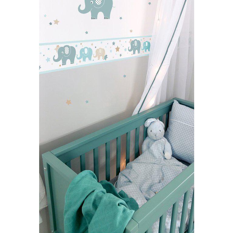 Dinki Balloon Kinderzimmer Bordüre Elefanten mint/beige