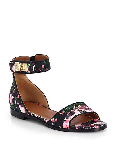 Givenchy - Rose Camouflage-Print Leather Sandals - Saks.com