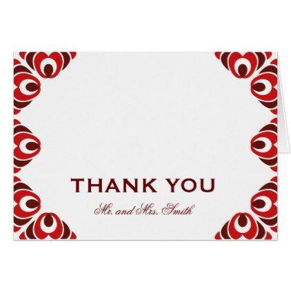 wedding thankyoucards dark red side border thank you card