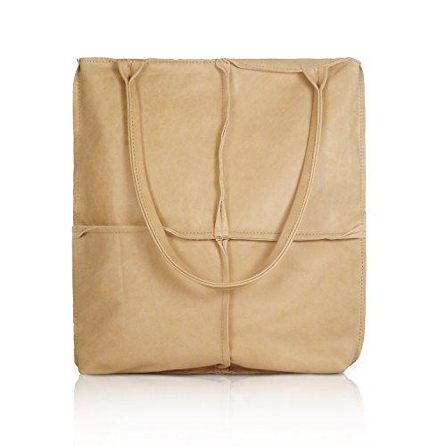 Extra Large Leather Shoulder Bag Soft Handbag Cream Tote Luxury Las