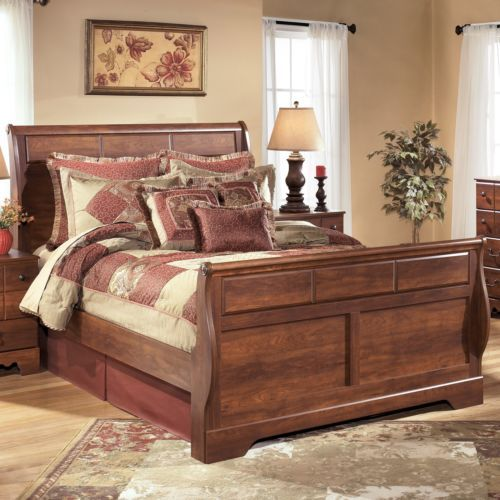 Ashley Timberline Rustic Style Warm Brown Finish Queen Size Sleigh Bed Queen Sleigh Bed