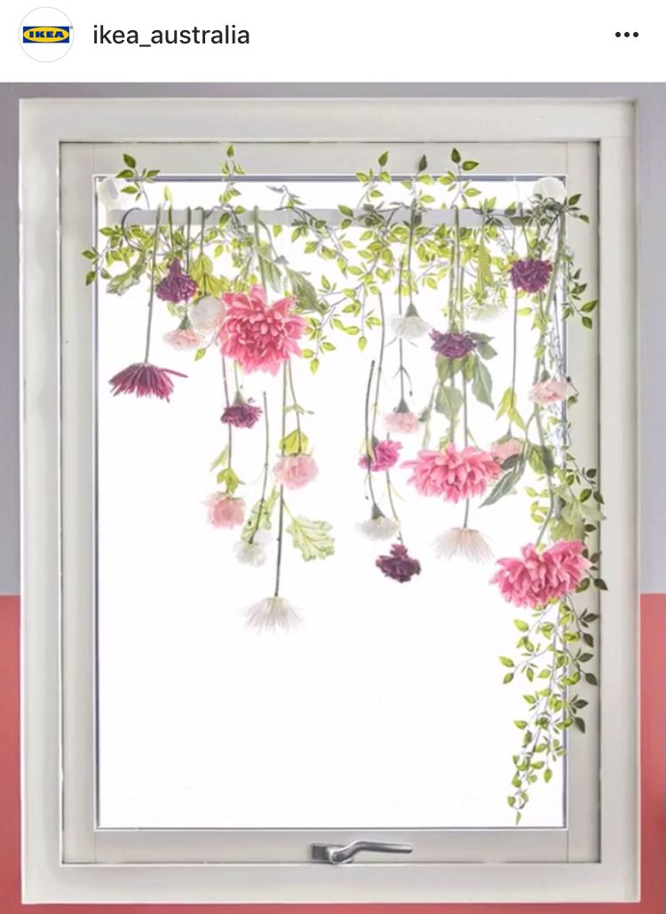 Suction Cup Curtain Rod Hung With Fake Flowers Flower Curtain
