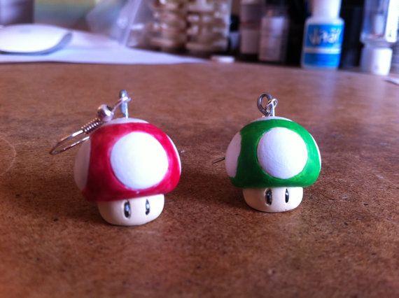 Super Mario mushroom ear rings, toad nintendo