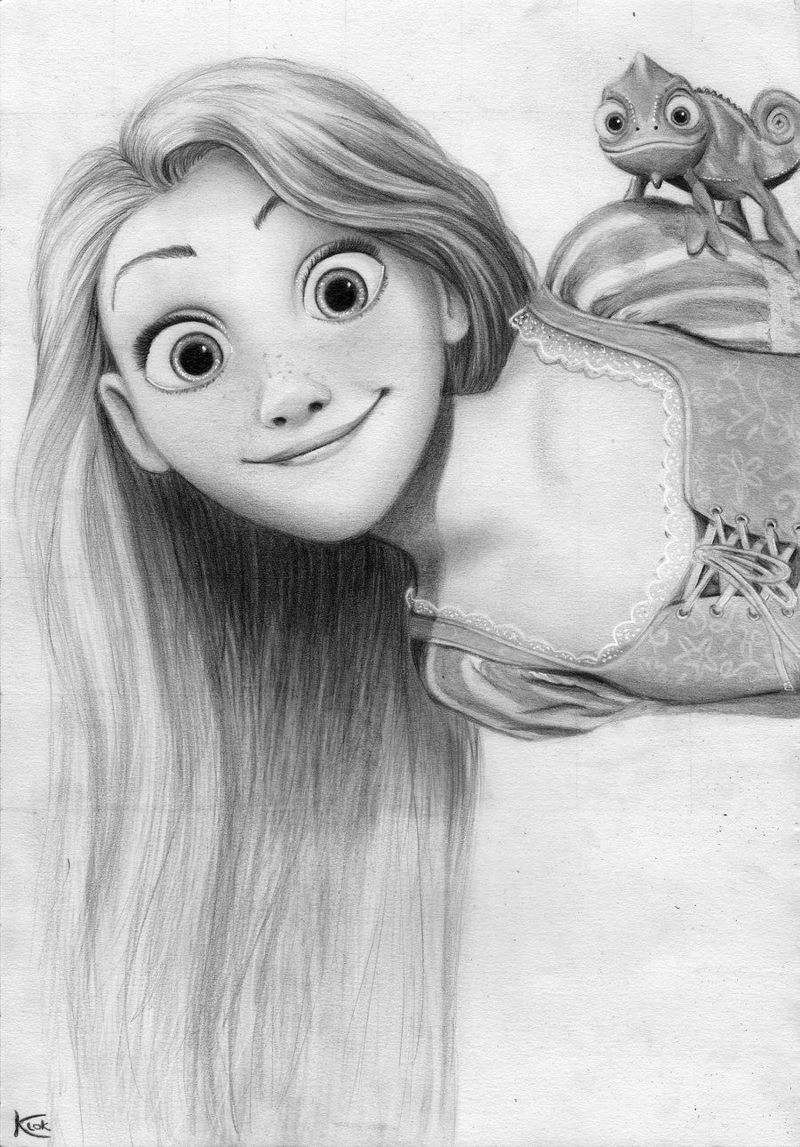 Rapunzel Pencil Drawing