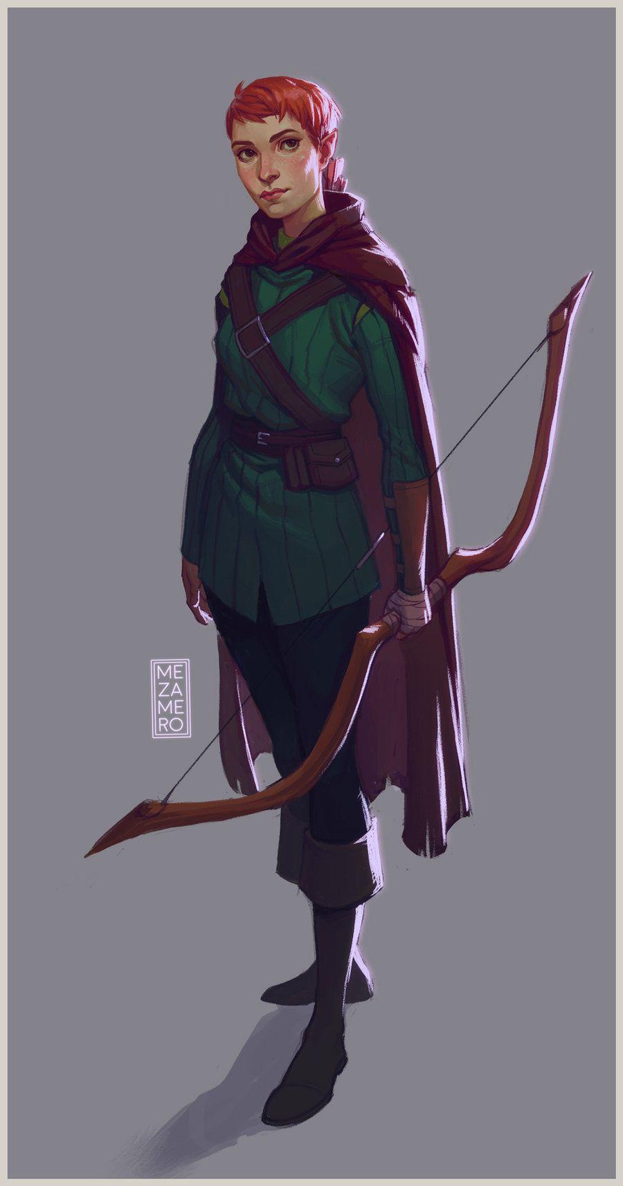 Asha 2 by Mezamero female elf ranger archer bow redhead ...