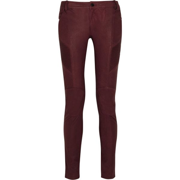 Pierre Balmain Leather skinny pants ($779) ❤ liked on Polyvore featuring pants, pantalon, red, red skinny pants, leather skinny pants, pierre balmain, genuine leather pants and skinny trousers